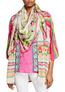 Johnny Was Galore Floral-Print Silk Georgette Scarf with Tassels