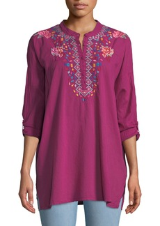 Johnny Was Gemstone Embroidery Long-Sleeve Blouse