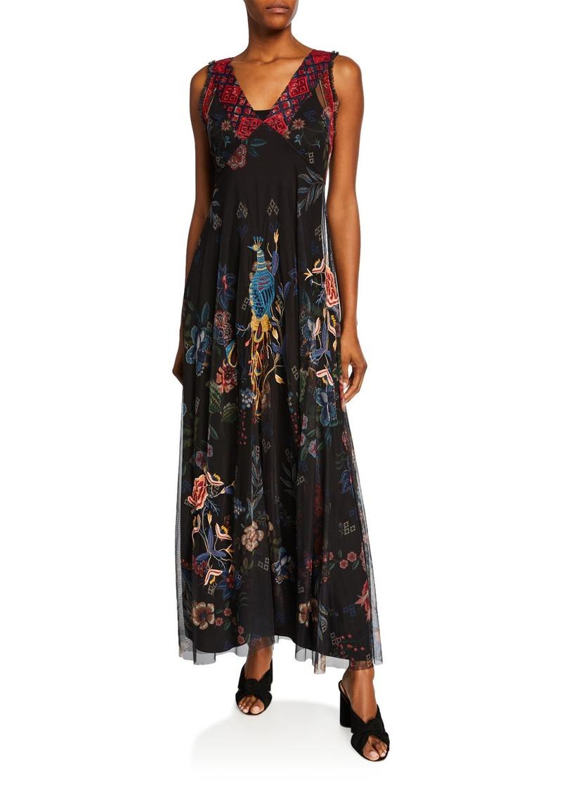 Johnny Was Genjy V-Neck Sleeveless Embroidered Mesh Maxi Dress