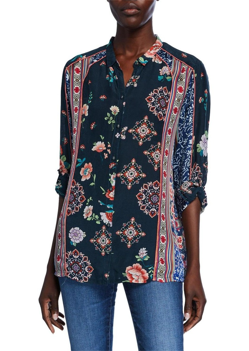Johnny Was Georgina Mixed-Print Long-Sleeve Button-Front Blouse