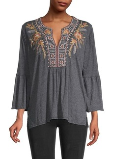 Johnny Was Hevea Embroidery Bell-Sleeve Top