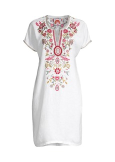 Johnny Was Hulda Floral-Embroidered Linen Tunic Dress