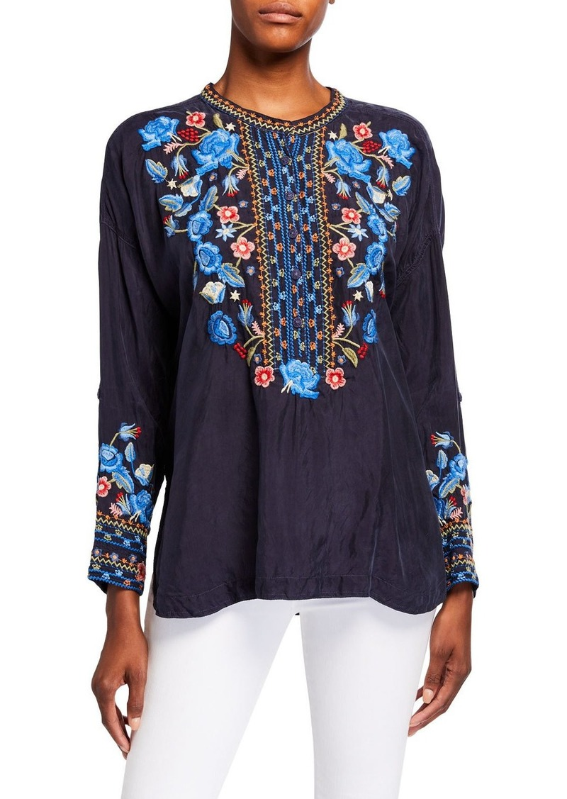 Johnny Was Indra Embroidered Cupro Blouse