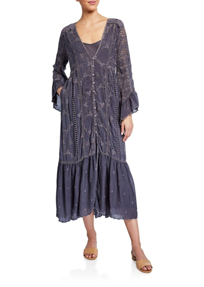 Johnny Was Indra Eyelet Ruffle-Sleeve Button-Front Dress