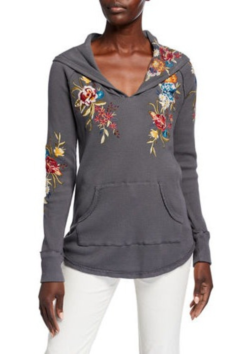 Johnny Was Isla Floral Embroidered Hooded Thermal Top