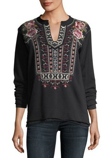 Johnny Was Issoria Embroidered French Terry Sweatshirt