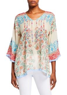 Johnny Was Jade Printed V-Neck Top with Embroidered Front