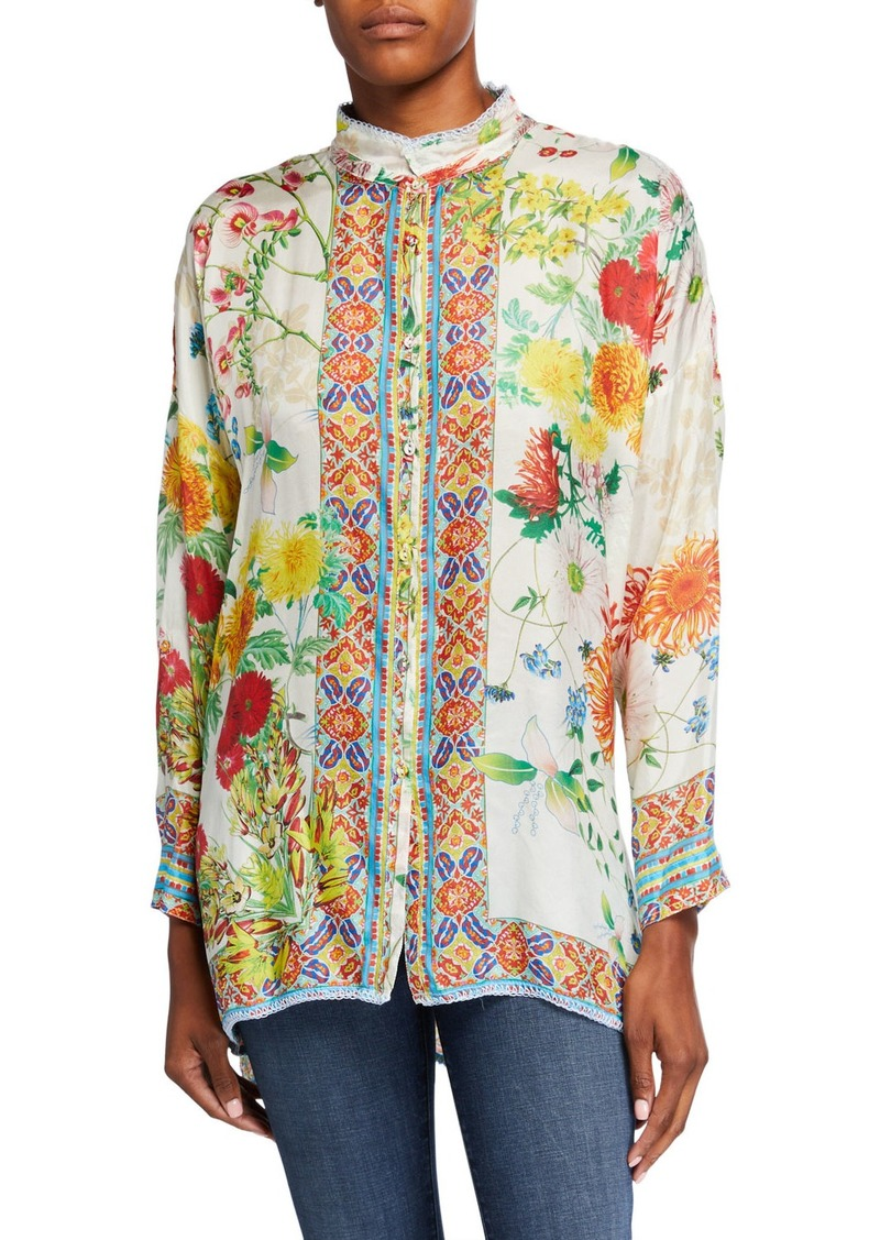 Johnny Was Jaffa Printed Button-Front Long-Sleeve Silk Blouse