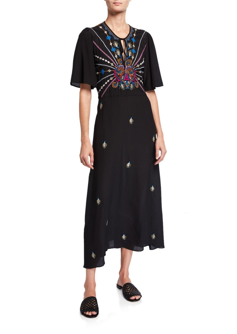 Johnny Was Janelle Embroidered Flutter-Sleeve Silk Maxi Dress