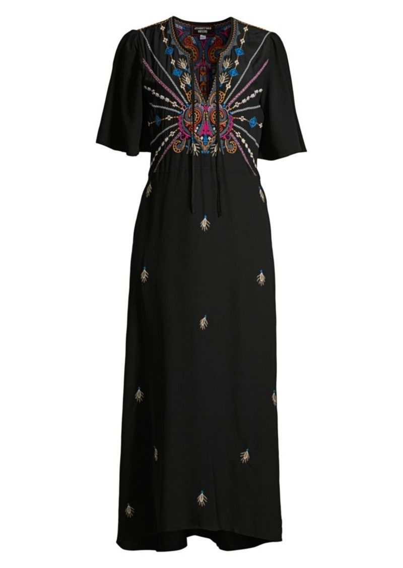 Johnny Was Janelle Flutter-Sleeve Silk Midi Dress