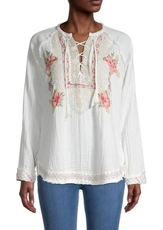 Johnny Was Joanne Floral Embroidery Peasant Top