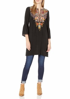 Johnny Was 3J Workshop Women's Silk Flare Sleeve Tunic Dress with Embroidery  M
