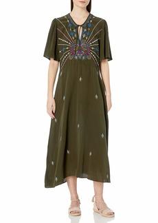 Johnny Was 3J Workshop Women's Silk Flutter Sleeve Maxi Dress  M