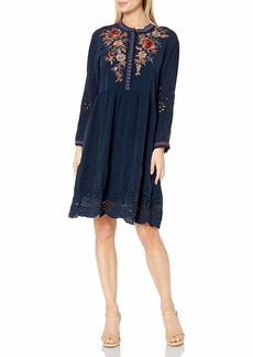 Johnny Was 3J Workshop Women's Silk Shirt Dress with Embroidery and Eyelet Detail  M