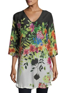 Johnny Was Betty Floral-Print V-Neck Top