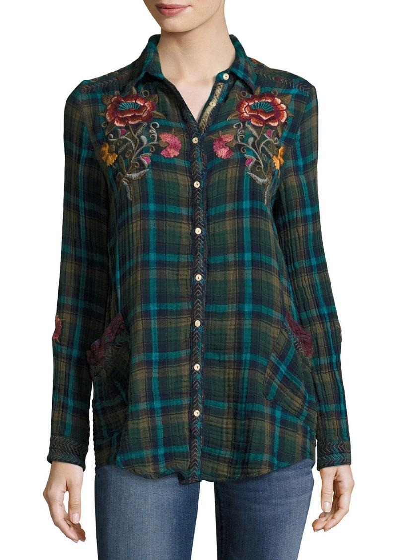 Johnny Was Johnny Was Bonnie Jasmine Plaid Embroidered Shirt ... d4ea816fa774