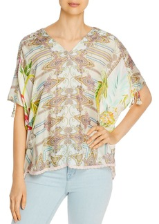 Johnny Was Brittany Mixed Print Silk Top