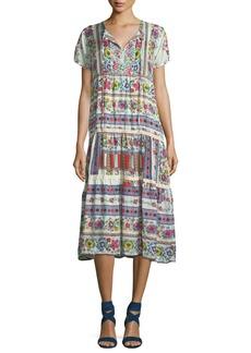 Johnny Was Charm Printed Tiered Midi Dress