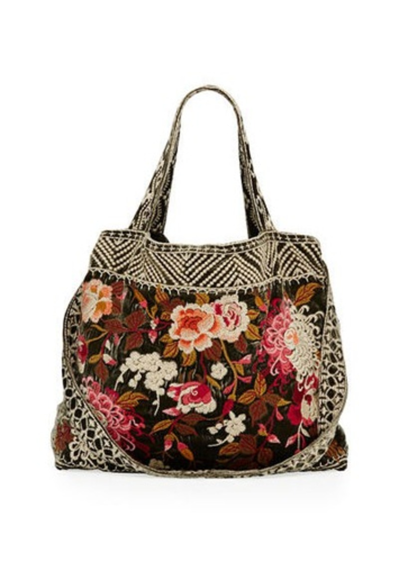 Johnny Was Johnny Was Chrys Velvet Embroidered Tote Bag  48fd1380b6a8a