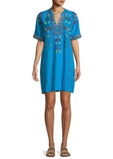Johnny Was Clover Linen Embroidered Tunic