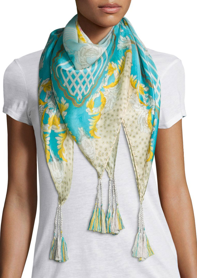 johnny was johnny was echo printed silk scarf misc