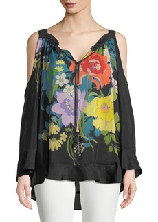 Johnny Was Fusion Cold-Shoulder Floral-Print Blouse