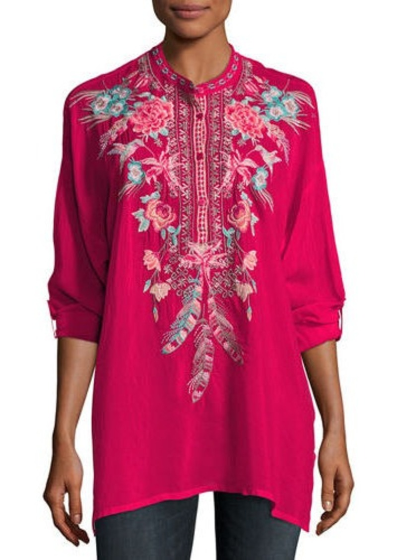 Johnny Was Johnny Was Hummingbird Long-Sleeve Embroidered Blouse ... b317a01a9047