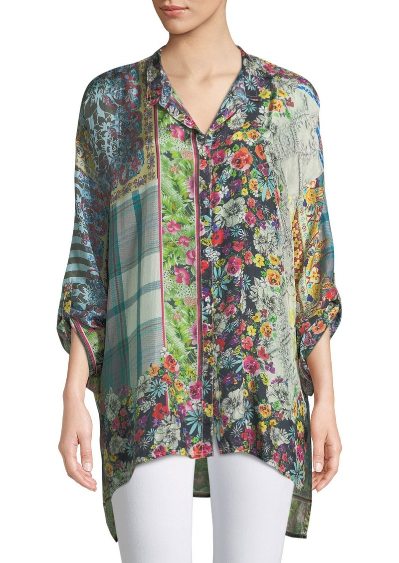 5788c5c2583 Johnny Was Invita Mixed-Print Georgette Button-Front Blouse