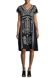Johnny Was Jolina Easy-Fit Embroidered Linen Dress
