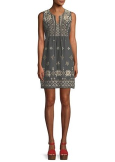 Johnny Was Lane Embroidered Linen Tank Dress