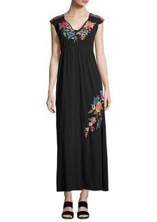 Johnny Was Lucia Embroidered Jersey Maxi Dress