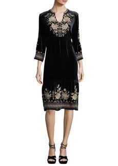 Johnny Was Magdalene 3/4-Sleeve Embroidered Velvet Dress