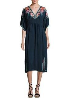 Johnny Was Margaret Short-Sleeve Embroidered Kimono Dress