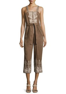 Johnny Was Marlene Embroidered Linen Cropped Jumpsuit