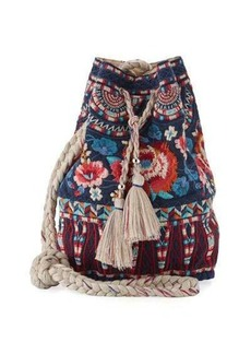 Johnny Was Mina Embroidered Linen Bucket Bag