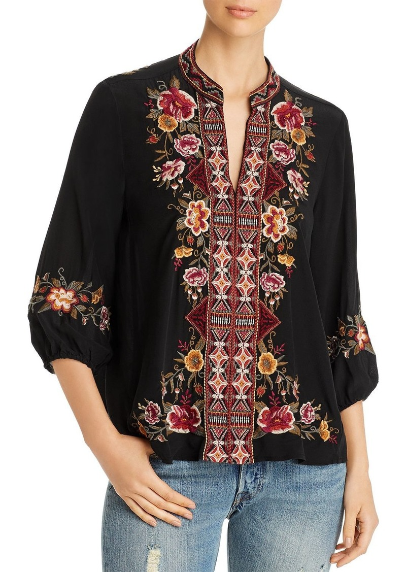 Johnny Was Nepal Embroidered Silk Peasant Blouse
