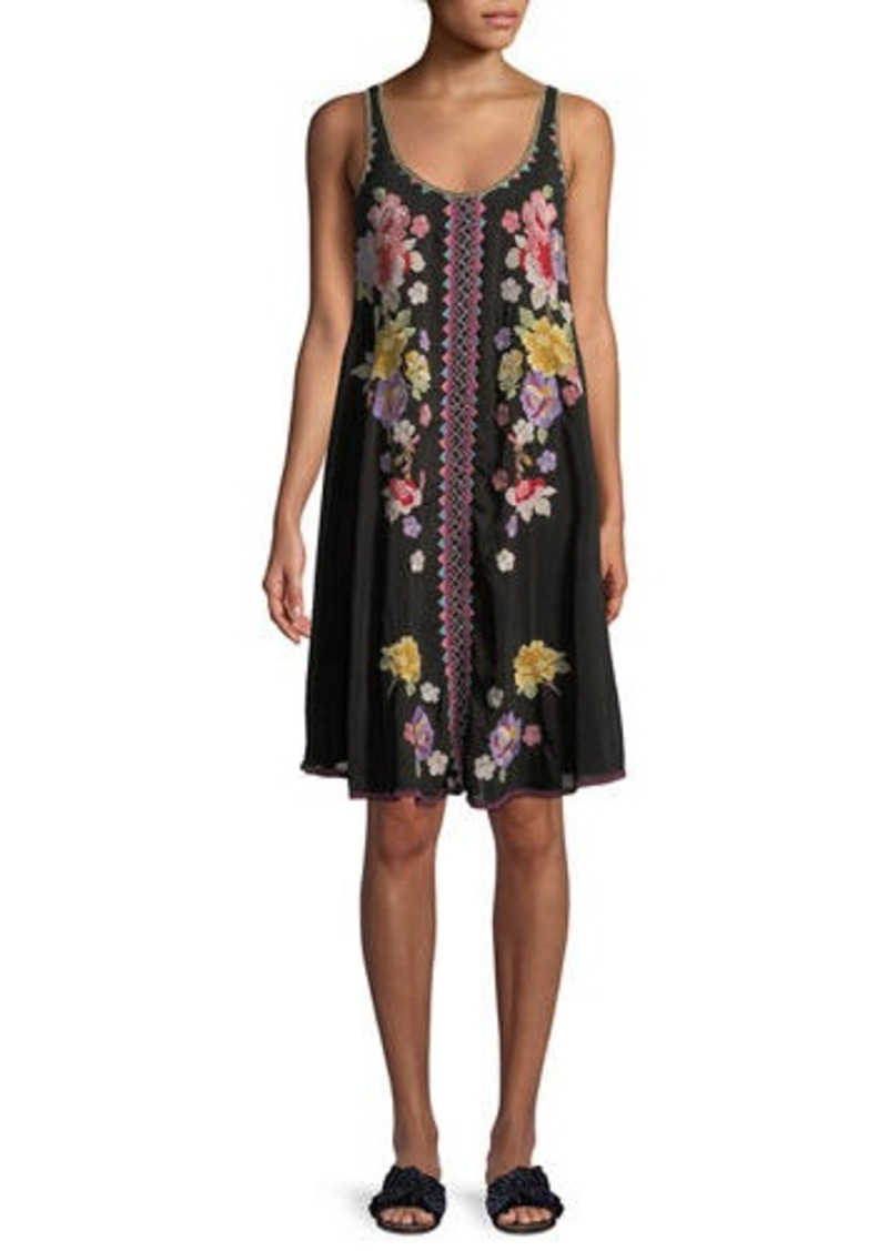 1b26aabbb5079d Johnny Was Peta Sleeveless Floral-Embroidered Dress