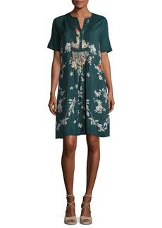 Johnny Was Phipps Short-Sleeve Henley Printed Dress W/ Slip