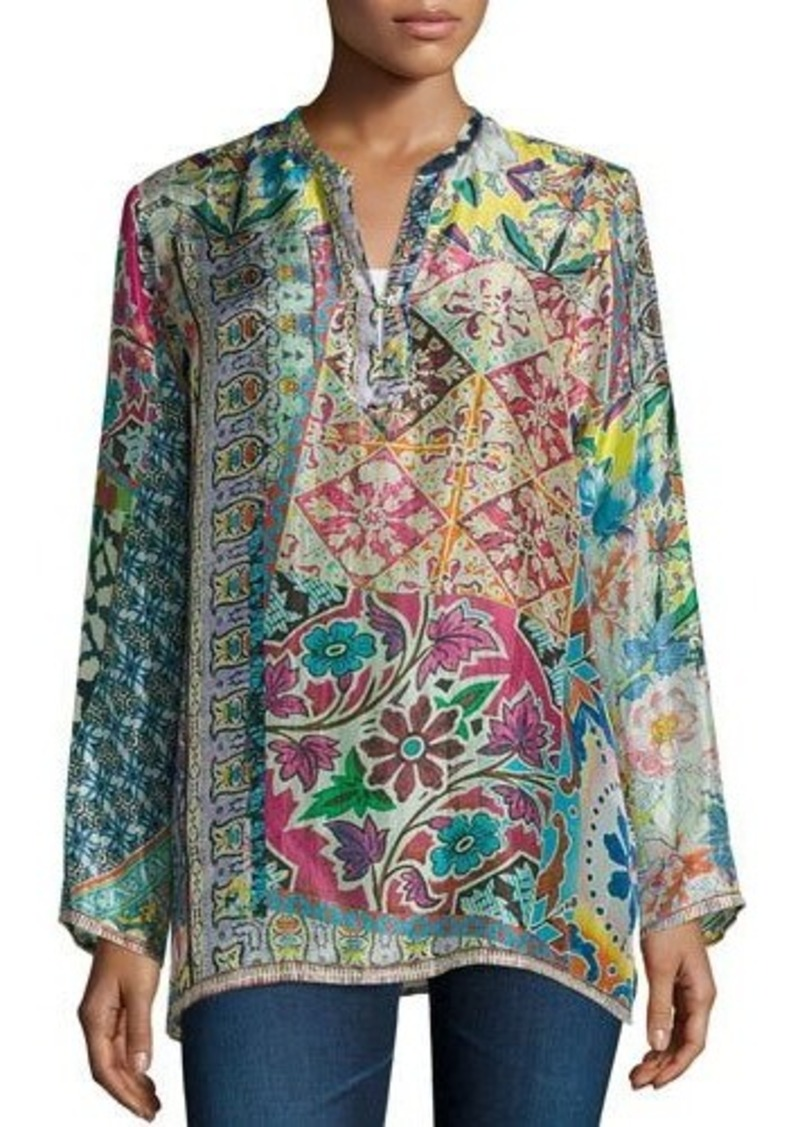 Johnny was johnny was revine printed silk tunic casual for Johnny was silk shirt