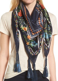 Johnny Was Romantico Tassel Trim Silk Scarf