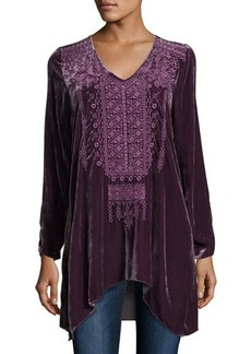 Johnny Was Sassi Long-Sleeve Velvet Tunic