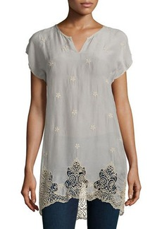 Johnny Was Seal Short-Sleeve Long Lace-Hem Tunic