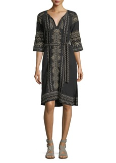 Johnny Was Sean Peasant Embroidered Linen Dress