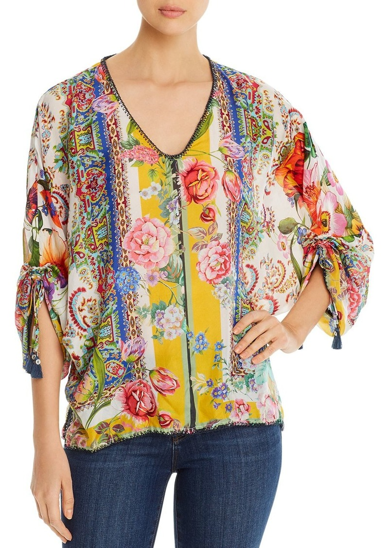 Johnny Was Sorbet Floral-Print Silk Blouse