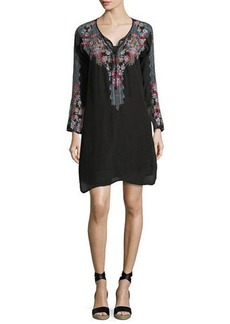 Johnny Was Tanyah Tie-Neck Embroidered Dress w/ Slip