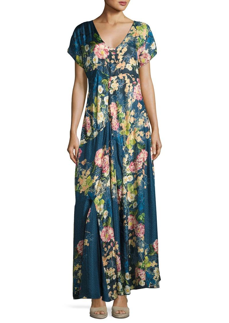 Short Sleeve Floral Print Maxi Dress
