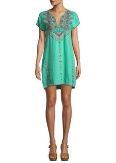 Johnny Was Veisia Embroidered Linen Tunic Dress