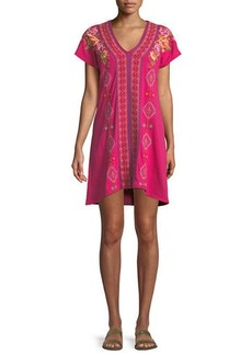 Johnny Was Vella Easy Knit Short-Sleeve Tunic Dress