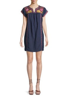 Johnny Was Vella V-Neck Embroidered Linen Shift Dress