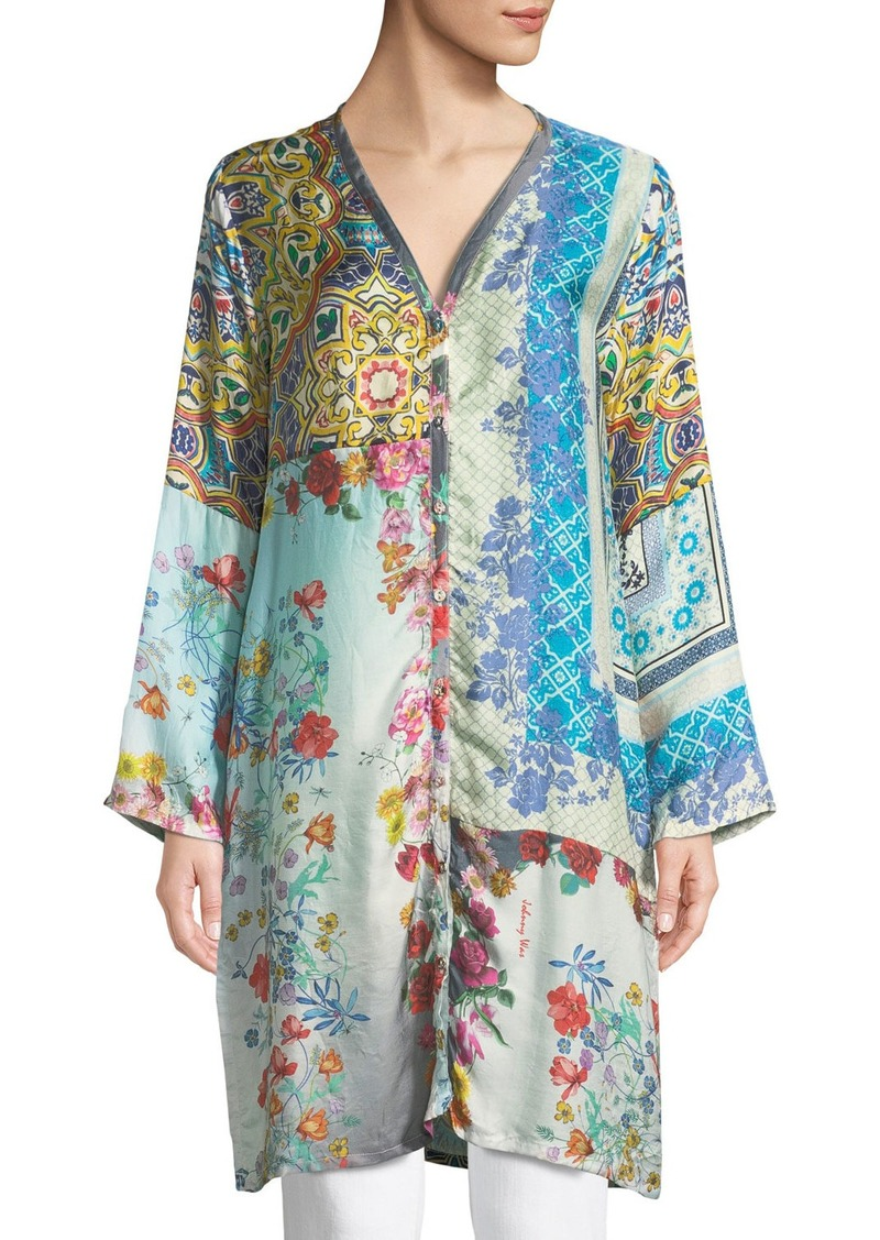 Johnny was witteau button front graphic silk cardigan for Johnny was silk shirt